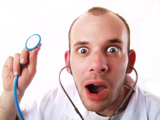 Crazy doctor using a stethoscope