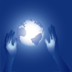3D Hands Reach for Blue Earth Glow Illustration