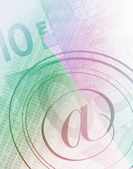Email symbol overlaid onto financial abstract image