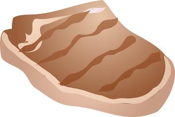 Grilled porkchop, meat dish 3d isometric illustration