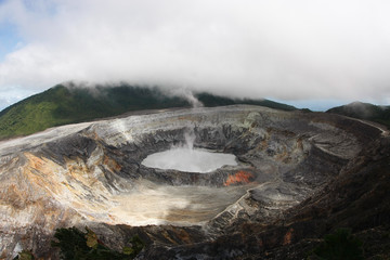 The crater of Poas Volcano in Costa Rica