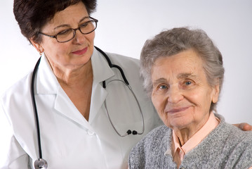 Health care worker and elderly woman needs help