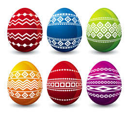 six color easter eggs, vector