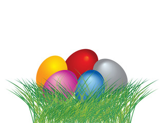 Colored easter eggs in green grass with white background