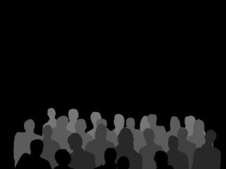 Crowd Silhouette Grey Scale