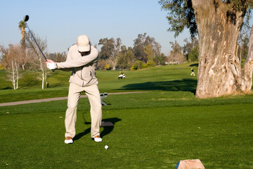 Golfers and a resort golf course in action
