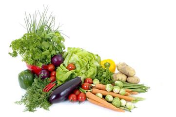 Canvas Prints Fresh vegetables Fresh bio vegetables, white background, reflective surface
