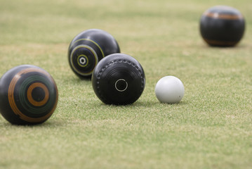 Narrow focus on lawn bowls