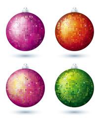 four disco ball over white background