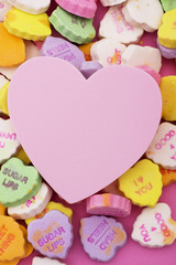 Candy hearts with blank heart in center