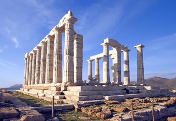 Temple of Poseidon at Cape Sounion near Athens, Greece.