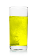 Vitamin pill dissolve in glass of water