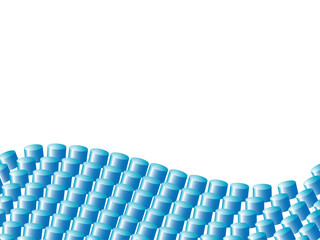Vector banner made of blue cylinders forming a wave.