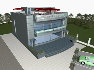 3d render of modern house building