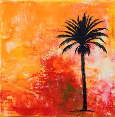 gemalter Hintergrund mit Palme