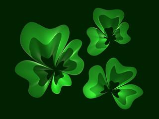 Clover leaves on dark background 3d-rendered