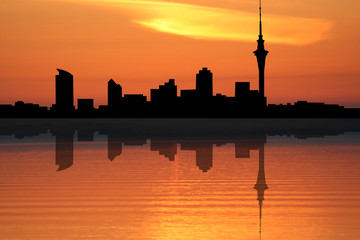 Auckland skyline at sunset illustration