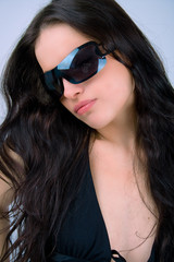 young black hair woman with sunglasses