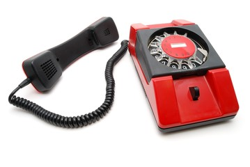 Red phone with a disk