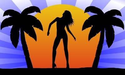 sonnenuntergang - palmen - silhouette 3