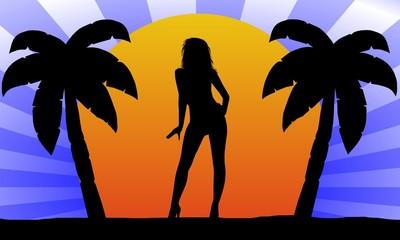 sonnenuntergang - palmen - silhouette 4