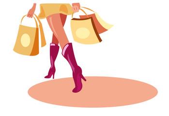 vector image of shopping walk