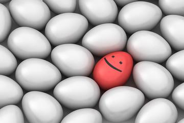 red smiling easter egg among similar white eggs