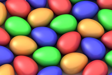 many colored easter eggs
