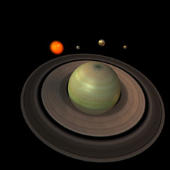 image of the solar system. focus on: Saturn.With Clipping Path
