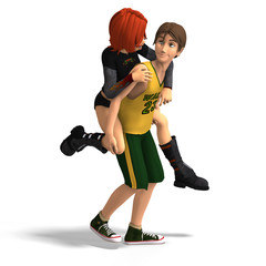 Young Toon Couple in First Love.With Clipping Path
