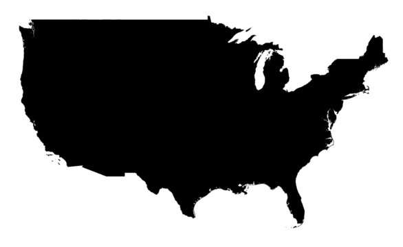 USA map, black and white. Mercator Projection.