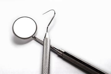 Isolated set of dentist tooks on white background