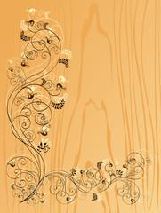 Floral vector on the wood background, vector illustartion