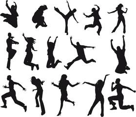 silhouettes adultes homme et femme en mouvement