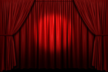 Wall Mural - Red stage curtain with spotlight