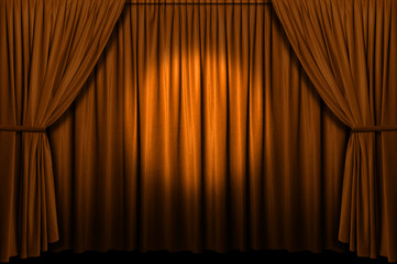 Wall Mural - Gold stage curtain with spotlight