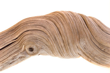 Fototapeta Driftwood on white background with strong twisted grain obraz