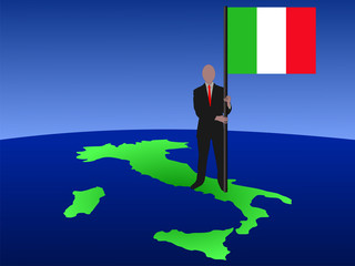 man on map of Italy with flag