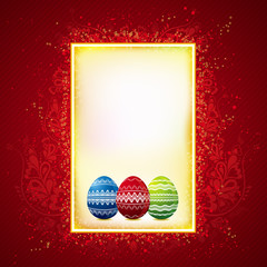 three color easter eggs over red and yellow background
