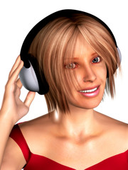 A girl with headphones on her head.