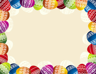 background with frame of easter eggs