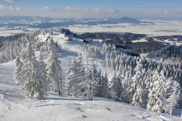 Winter vacation place panoramic view