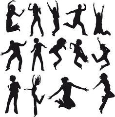 silhouettes humains sautant et bondissant en mouvement