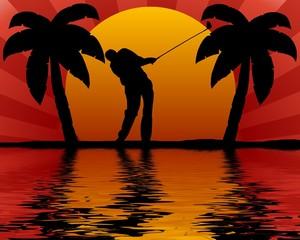 golfspieler am meer
