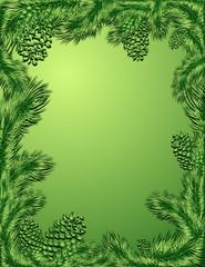 Green frame of pine trees branch, vector illustration