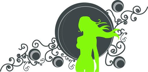 silhouette femme verte sur fond bleu