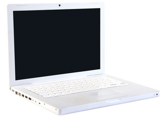 White laptop computer isolated on white background