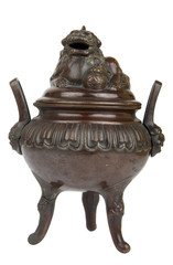 Ancient bronze incense burner with Foo Dog on lid