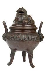 Ancient bronze incense burner with Foo Dog on lid