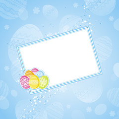 color easter eggs over blue  background